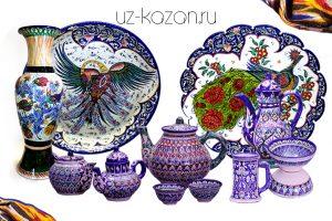 (Е) Посуда, ручная работа, из города Риштан