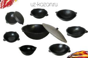 (A) Узбекские чугунные казаны из Намангана
